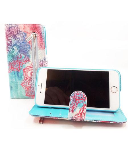 HEM Apple iPhone 6/6s Mandala  boekhoesje Hoesje met pasjesflip en rits voor kleingeld en polsbandje