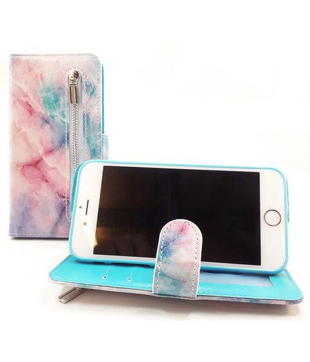 HEM Samsung Galaxy A40 Tie-Dye boekhoesje Hoesje met pasjesflip en rits voor kleingeld en polsbandje