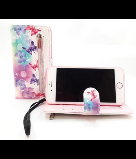 HEM Apple iPhone 7/8 boekhoesje wit met vlinders en bloemen Hoesje met pasjesflip en rits voor kleingeld en polsbandje