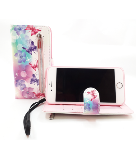 HEM Samsung Galaxy A40 boekhoesje wit met vlinders en bloemen Hoesje met pasjesflip en rits voor kleingeld en polsbandje