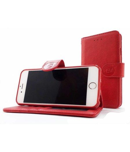 HEM Samsung Galaxy A5 2018 / A8 2018 - Burned Red Leren Portemonnee Hoesje - Lederen Wallet Case TPU meegekleurde binnenkant- Book Case - Flip Cover - Boek - 360º beschermend Telefoonhoesje
