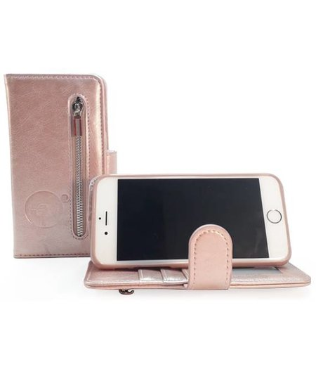 HEM Samsung Galaxy A5 2018 / A8 2018 - Rose Gold Leren Rits Portemonnee Hoesje - Lederen Wallet Case TPU meegekleurde binnenkant- Book Case - Flip Cover - Boek - 360º beschermend Telefoonhoesje
