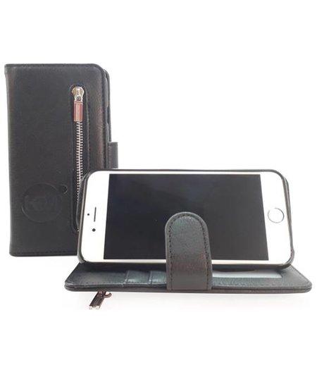 HEM Samsung Galaxy A5 2018 / A8 2018 - Antique Black Leren Rits Portemonnee Hoesje - Lederen Wallet Case TPU meegekleurde binnenkant- Book Case - Flip Cover - Boek - 360º beschermend Telefoonhoesje