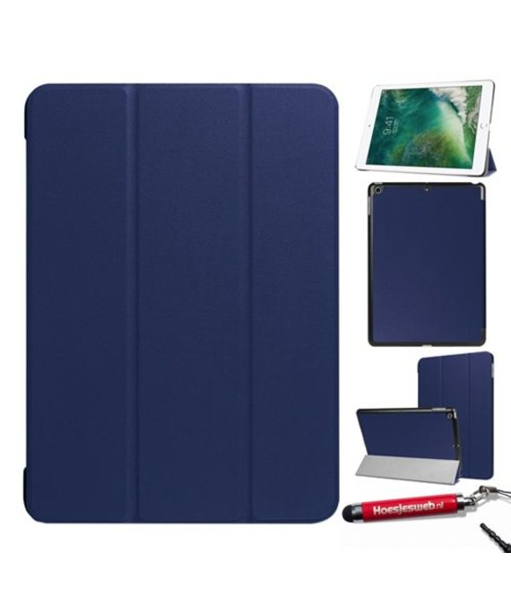 HEM HEM hoes iPad 2018 9.7 NEWSmart Cover donker blauw / Vouw hoesjes Apple iPad 2018 / Vouw hoesje iPad 2018 / Inclusief handige uitschuifbare Hoesjesweb Stylus Pen