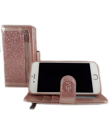 HEM HEM Apple iPhone 6/6S  - Magic Glitter Rose Gold - Leren Rits Portemonnee Telefoonhoesje