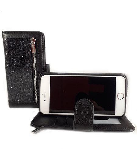 HEM HEM Apple iPhone 7/8 - Magic Glitter Antique Black - Leren Rits Portemonnee Telefoonhoesje