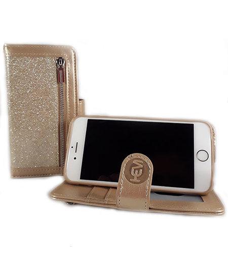 HEM HEM Apple iPhone 7 Plus/8 Plus - Magic Glitter Gold - Leren Rits Portemonnee Telefoonhoesje
