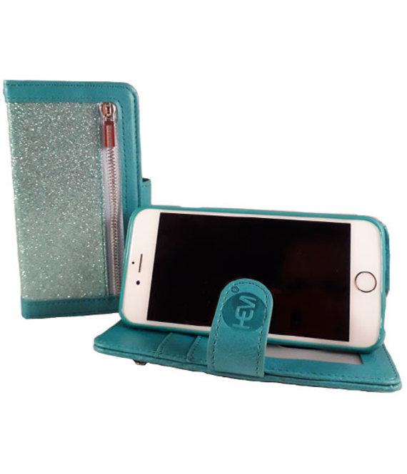 HEM HEM Samsung Galaxy A20e - Magic Glitter Pure Turquoise - Leren Rits Portemonnee Telefoonhoesje