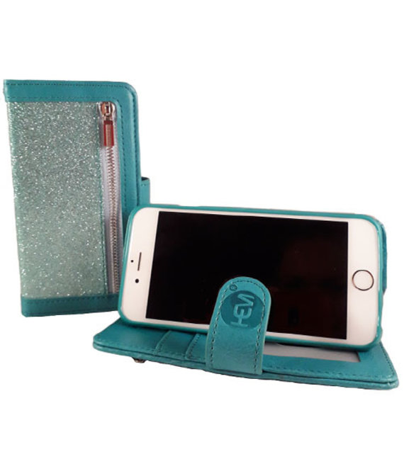HEM HEM Samsung Galaxy A40 - Magic Glitter Pure Turquoise - Leren Rits Portemonnee Telefoonhoesje