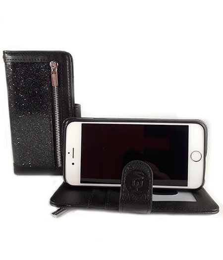 HEM HEM Apple iPhone SE/5/5S - Magic Glitter Antique Black - Leren Rits Portemonnee Telefoonhoesje