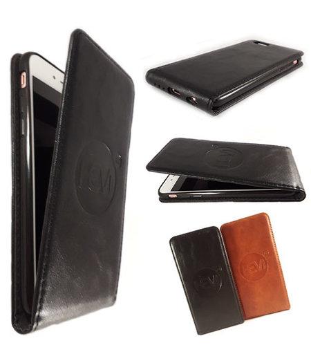 HEM HEM Apple iPhone 5/5S/SE - Luxe Antique Black - Leren Flipcover -  Telefoonhoesje Openslaand