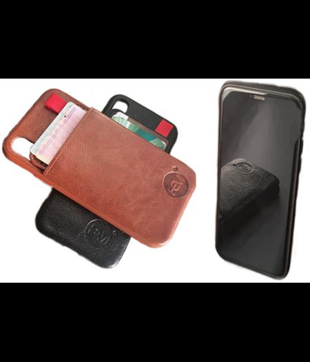 HEM HEM - iPhone X/XS - Luxe Lederen Back Cover Bruin- Telefoonhoesje / Achterkant voor 2 pasjes