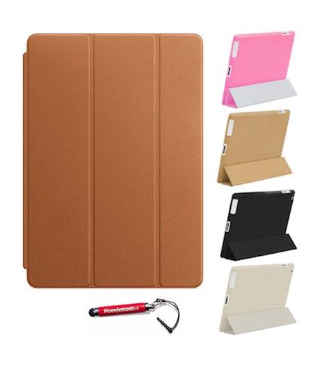 HEM iPad Air 2  Smart Cover Bruin / Vouw hoesjes Apple iPad Air 2 / Vouw hoesje iPad Air  2  / Inclusief handige uitschuifbare Hoesjesweb Stylus Pen
