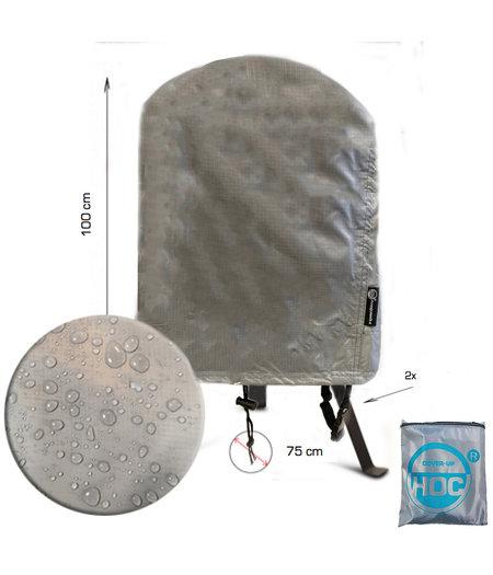 COVER UP HOC COVER UP HOC Diamond bbq hoes rond -75x100 cm - Waterdicht met Stormbanden en Trekkoord