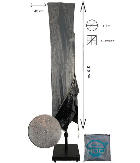 CUHOC Diamond topkwaliteit parasolhoes voor zweefparasol - 210x45 cm- met Rits en Trekkoord incl. Stopper- Zilvergrijze Parasolhoes waterdicht