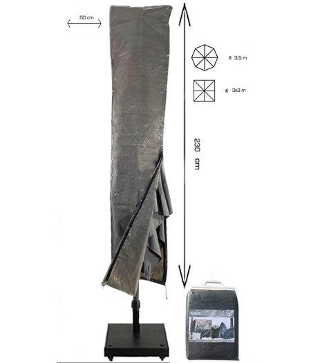 COVER UP HOC Basic ZweefParasolhoes met Stok en Rits 230 cm.Beschermhoes Parasol / Afdekhoes Parasol met rits en stok 230x50/58cm