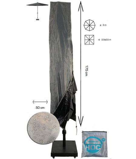 CUHOC Diamond topkwaliteit parasolhoes staande parasol- 175x28x50 cm - met Rits, Stok en Trekkoord incl. Stopper- Zilvergrijze Parasolhoes waterdicht