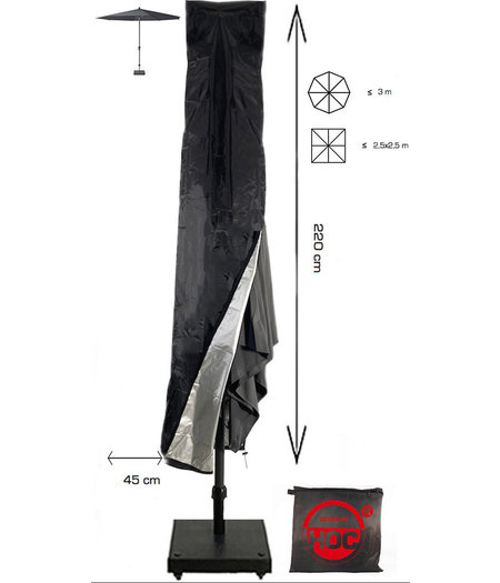 COVER UP HOC Redlabel parasolhoes staande parasol- 220x25x45 cm - met Stok, Rits en Trekkoord incl. Stopper- Zwarte Parasolhoes
