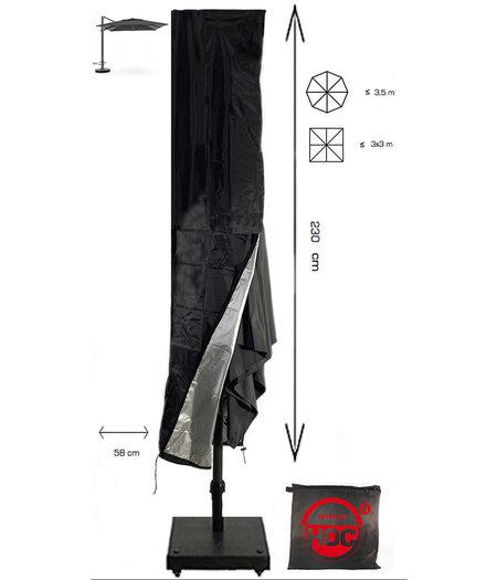 CUHOC Redlabel parasolhoes voor (zweef) parasol - 230x50x58 cm - met Rits, Stok en Trekkoord incl. Stopper- Zwarte Parasolhoes