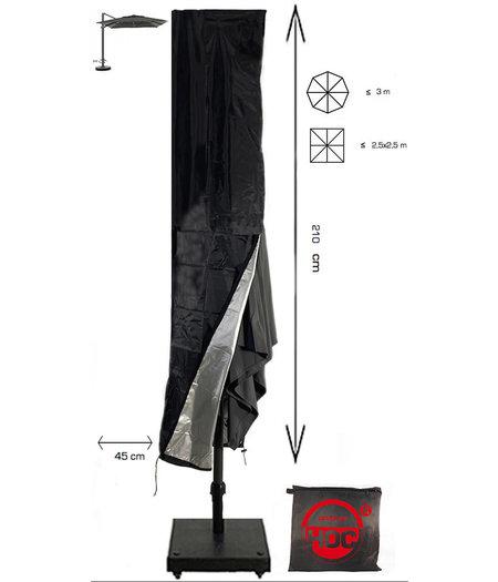 CUHOC Redlabel parasolhoes voor zweefparasol - 210x45 cm- met Rits en Trekkoord incl. Stopper- Zwarte Parasolhoes