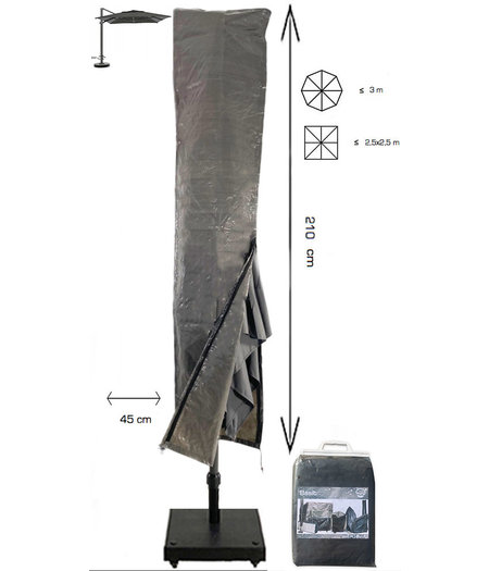 CUHOC Basic ZweefParasolhoes met Stok en Rits 210 cm. Beschermhoes Parasol / Afdekhoes Parasol met rits en stok 210x45