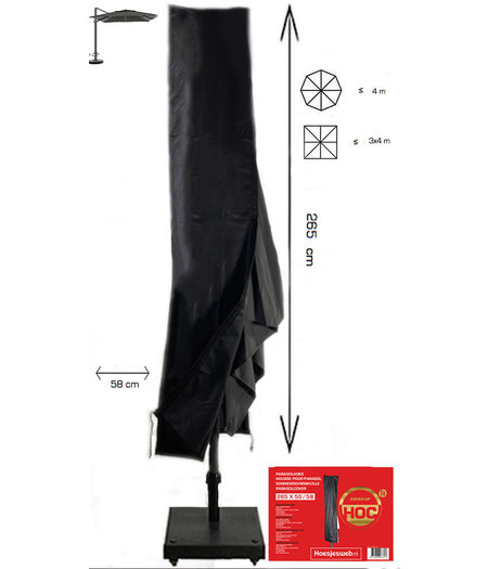 CUHOC ZweefParasolhoes met Rits 265 cm. Beschermhoes Parasol / Afdekhoes Parasol met rits en stok Zwart 265x50/58