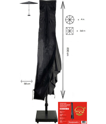 COVER UP HOC (sta/ stok) Parasolhoes met Stok en Rits 230x30/57 cm. Beschermhoes Parasol / Afdekhoes Parasol met rits en stok Zwart 230 x 30/57cm