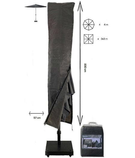 CUHOC Basic Parasolhoes staande parasol met stok en rits  230x30x57 cm - Grijze Parasolhoes