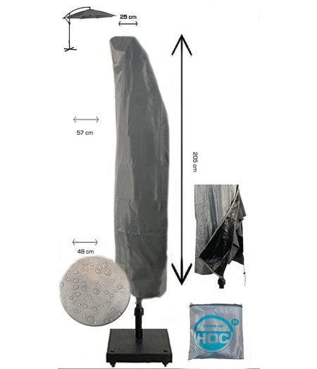 COVER UP HOC Diamond topkwaliteit parasolhoes voor zweefparasol met boog - 205x57x40x25 cm - met Rits en Trekkoord incl. Stopper- Zilvergrijze Parasolhoes waterdicht