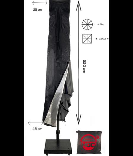 CUHOC ZweefParasolhoes 220 cm / Beschermhoes Parasol / Afdekhoes Parasol Zwart / 25x220x45 cm
