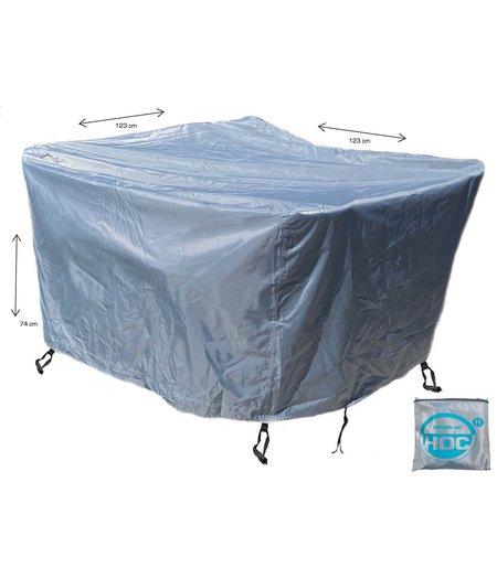 CUHOC COVER UP HOC - Diamond hoes tuinmeubelen- 123x123x74 cm - tuinset beschermhoes waterdicht met Stormbanden, Trekkoord en Afwaterings HOCCIE - Zilvergrijze hoes  tuinmeubels