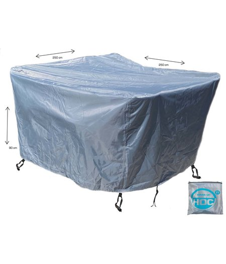 CUHOC COVER UP HOC - Diamond hoes loungeset - 250x250x90 cm - loungeset beschermhoes waterdicht met Stormbanden, Trekkoord en Afwaterings HOCCIE - Zilvergrijze hoes loungeset