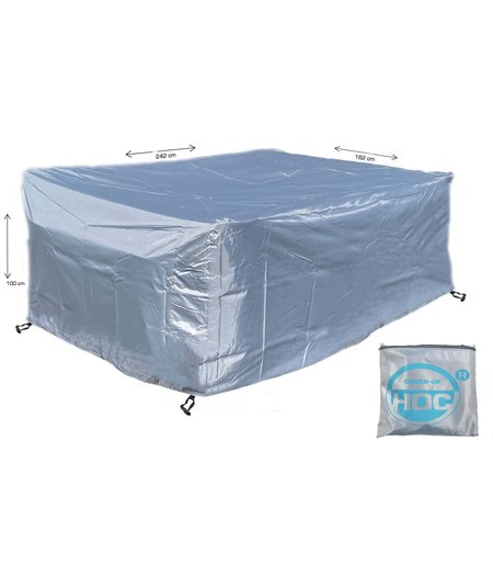 CUHOC COVER UP HOC - Diamond hoes loungeset - 242x162x100 cm - loungeset beschermhoes waterdicht met Stormbanden, Trekkoord en Afwaterings HOCCIE - Zilvergrijze hoes loungeset
