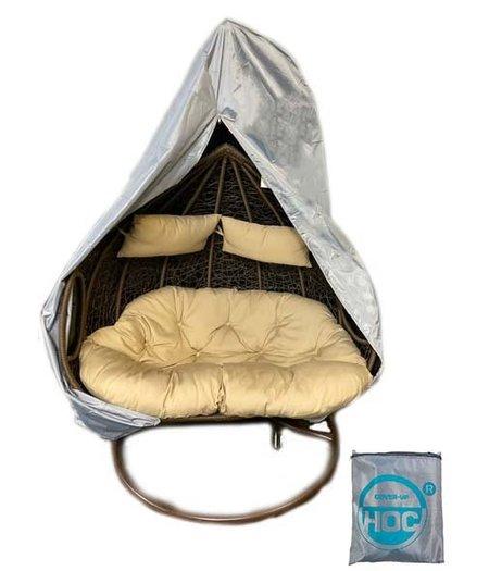 CUHOC Diamond Beschermhoes Hangstoel 2 persoons 140x125x180 - hoes voor Hangstoel met rits van boven tot onderaan en trekkoord