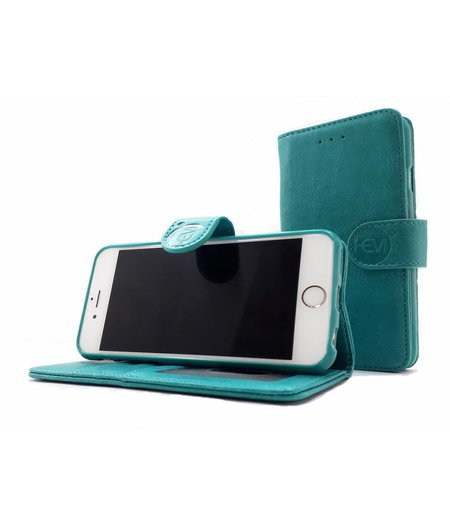 HEM Apple iPhone SE 2020  - Pure Turquoise Leren Portemonnee Hoesje - Lederen Wallet Case TPU meegekleurde binnenkant- Book Case - Flip Cover - Boek - 360º beschermend Telefoonhoesje