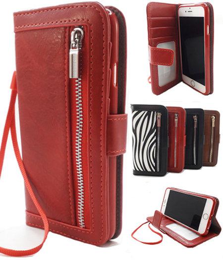 HEM Apple iPhone SE 2020 Rode Wallet / Book Case / Boekhoesje/ Telefoonhoesje / Hoesje met pasjesflip en rits voor kleingeld
