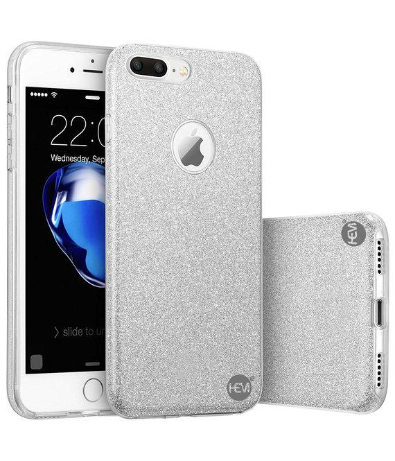 HEM HEM  Apple iPhone SE 2020 - Zilveren Switch Glitter hoesje - Anti Shock 1000 in 1 hoesje