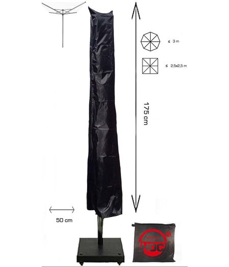 COVER UP HOC Redlabel Droogmolenhoes - 175x28x50 cm - met Stok, Rits en Trekkoord incl. Stopper- Zwarte Droogmolenhoes