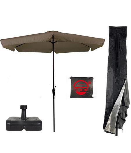 CUHOC Parasol + Parasolvoet + Parasolhoes (  Taupe - vulbare parasolvoet - CUHOC Parasolhoes )  Super COMBIDEAL