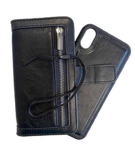 HEM iPhone XR DOUBLE CATCH Zwarte Wallet met rits iPhone XR/ Book Case iPhone XR / Boekhoesje iPhone XR / Telefoonhoesje iPhone XR / Hoesje met pasjesflip en rits voor kleingeld en los magnetisch telefoonhoesje
