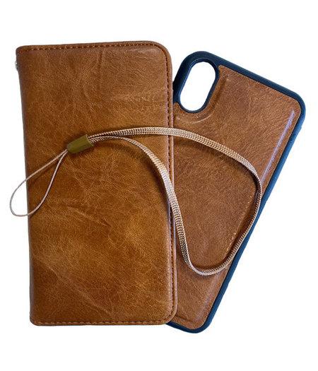 HEM iPhone XR DOUBLE CATCH Bruine Wallet iPhone XR/ Book Case iPhone XR / Boekhoesje iPhone XR / Telefoonhoesje iPhone XR / Hoesje met pasjesflip en los magnetisch telefoonhoesje