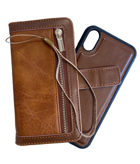 HEM iPhone 11 Pro DOUBLE CATCH Bruine Wallet met rits iPhone 11 Pro/ Book Case iPhone 11 Pro / Boekhoesje iPhone 11 Pro / Telefoonhoesje iPhone 11 Pro / Hoesje met pasjesflip en rits voor kleingeld en los magnetisch telefoonhoesje