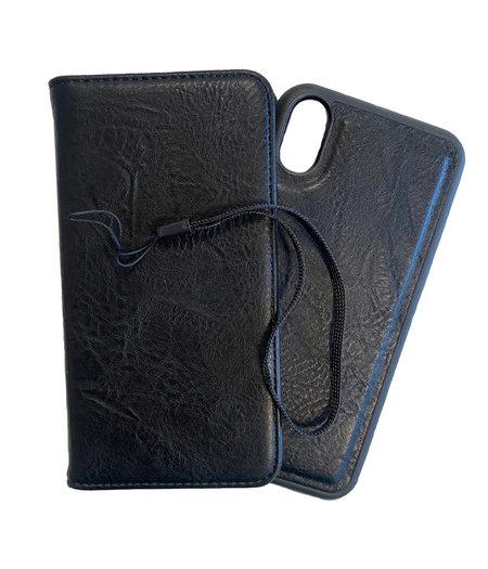 HEM iPhone X/XS DOUBLE CATCH Zwarte Wallet iPhone X/XS/ Book Case iPhone X/XS / Boekhoesje iPhone X/XS / Telefoonhoesje iPhone X/XS / Hoesje met pasjesflip en los magnetisch telefoonhoesje
