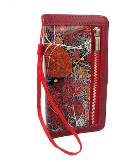 HEM Samsung Galaxy A70 Red Leafs/ Book Case / Boekhoesje/ Telefoonhoesje / Hoesje Samsung Galaxy A70 telefoon met pasjesflip en rits voor kleingeld