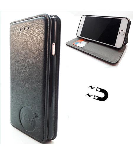 HEM Apple iPhone 12 - Antique Black Ultra Dun Portemonnee Hoesje - Lederen Wallet Case TPU meegekleurde binnenkant - Book Case - Flip Cover - Boek - 360º beschermend Telefoonhoesje