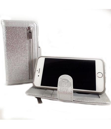 HEM HEM Apple iPhone 12 - Magic Glitter Shiny Silver- Leren Rits Portemonnee Telefoonhoesje