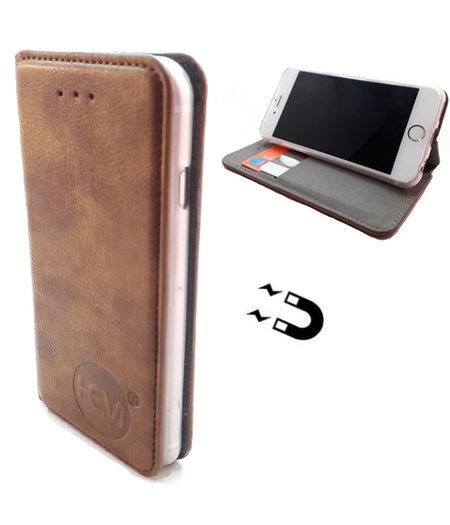 HEM Apple iPhone 12 Mini - Bronzed Brown Ultra Dun Portemonnee Hoesje - Lederen Wallet Case TPU - Book Case - Flip Cover - Boek - 360º beschermend Telefoonhoesje