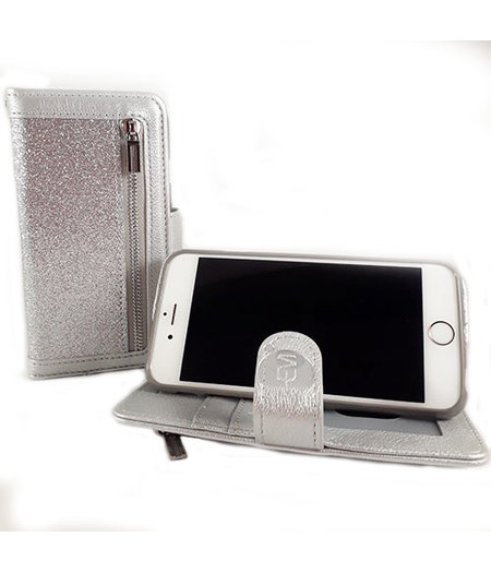 HEM HEM Apple iPhone 12 Mini- Magic Glitter Shiny Silver- Leren Rits Portemonnee Telefoonhoesje