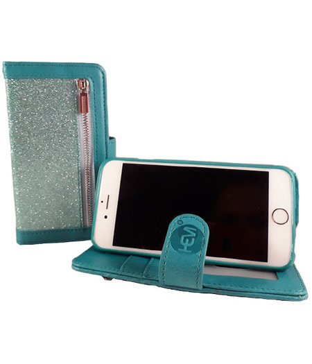 HEM HEM Apple iPhone 12 Mini - Magic Glitter Pure Turquoise - Leren Rits Portemonnee Telefoonhoesje
