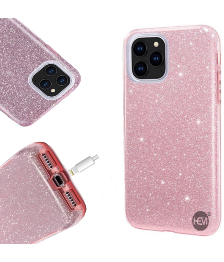 HEM Apple iPhone 12 Glitter Roze Siliconen Gel TPU / Back Cover / Hoesje iPhone 12